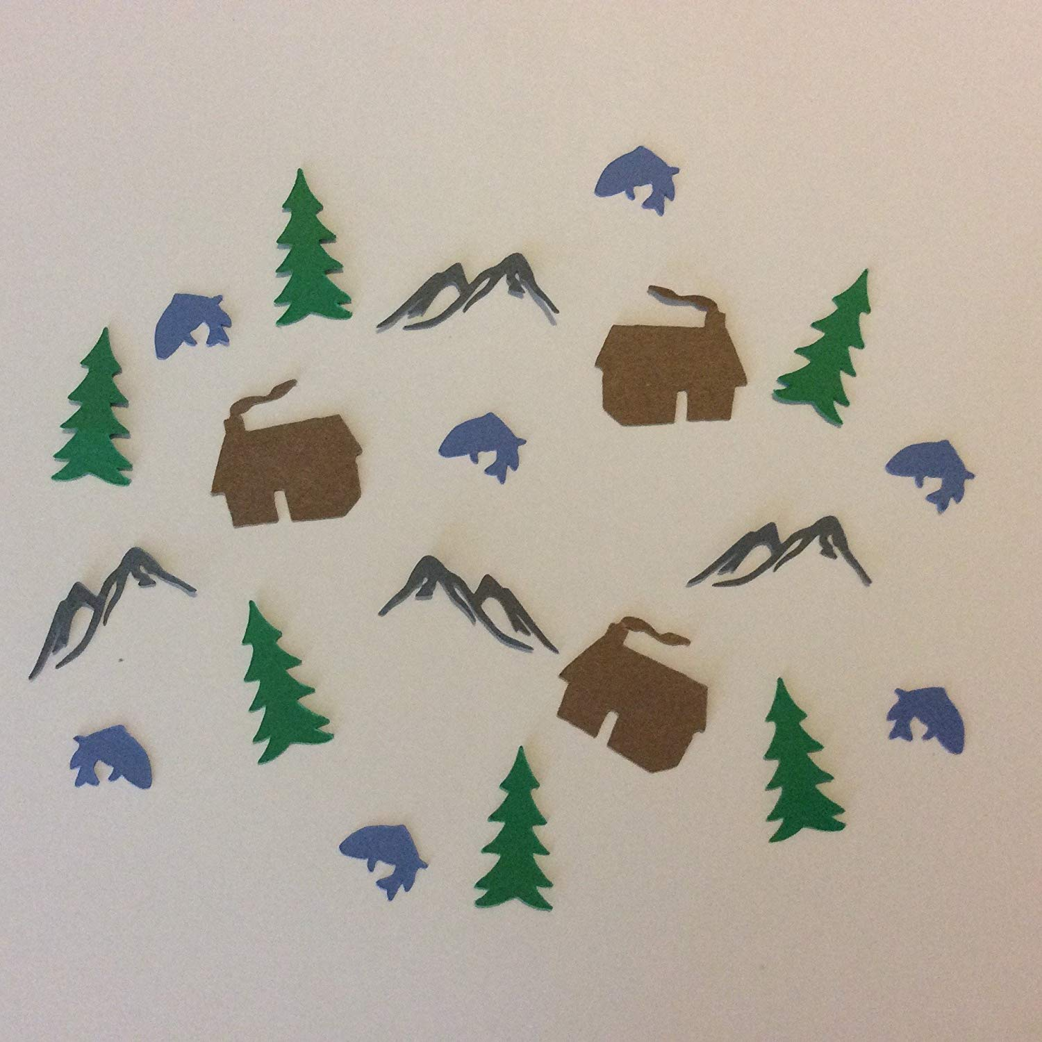 1in Confetti Set, Cabin Cut Outs, Fish Cut Outs, Tree Cut Outs, Mountain Cut Outs, Woodland Theme, Rustic Theme, Camping Decorations, Table Scatter, Rustic Wedding, Party Supplies, Confetti