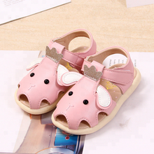 KS0113S Cartoon Elephant Baby Girls Flat Sandals 2018 Latest Comfortable Shoes