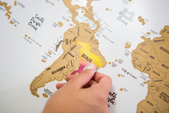 Custom Travel Scratch off Map of the World Map including Flags Scratch off Push Pins Memory Stickers Deluxe Travel Map