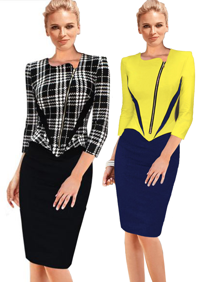 1294c5a96 Get Quotations · The new fall fashion temperament Women's business casual  long-sleeved OL dress cocktail party work