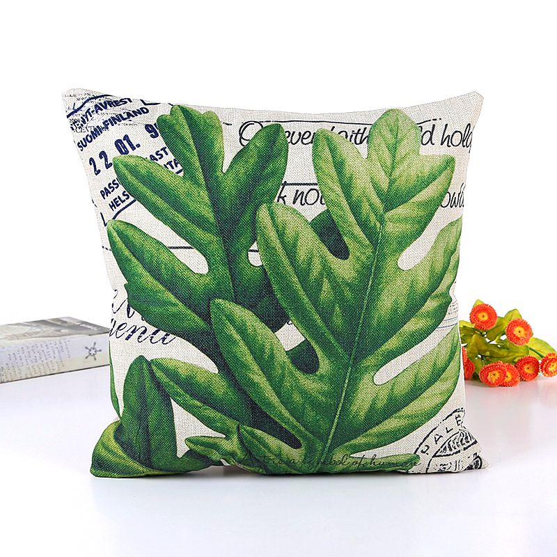 Square Canvas Accent Palm Tree Leaves Decor Pillow Cover Tropical Cushion Cover for Couch