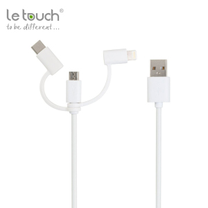 Letouch hot sale 3 in 1 multi usb date fast MFi charging cable for Apple iphone 6 7 android usb type c adapter