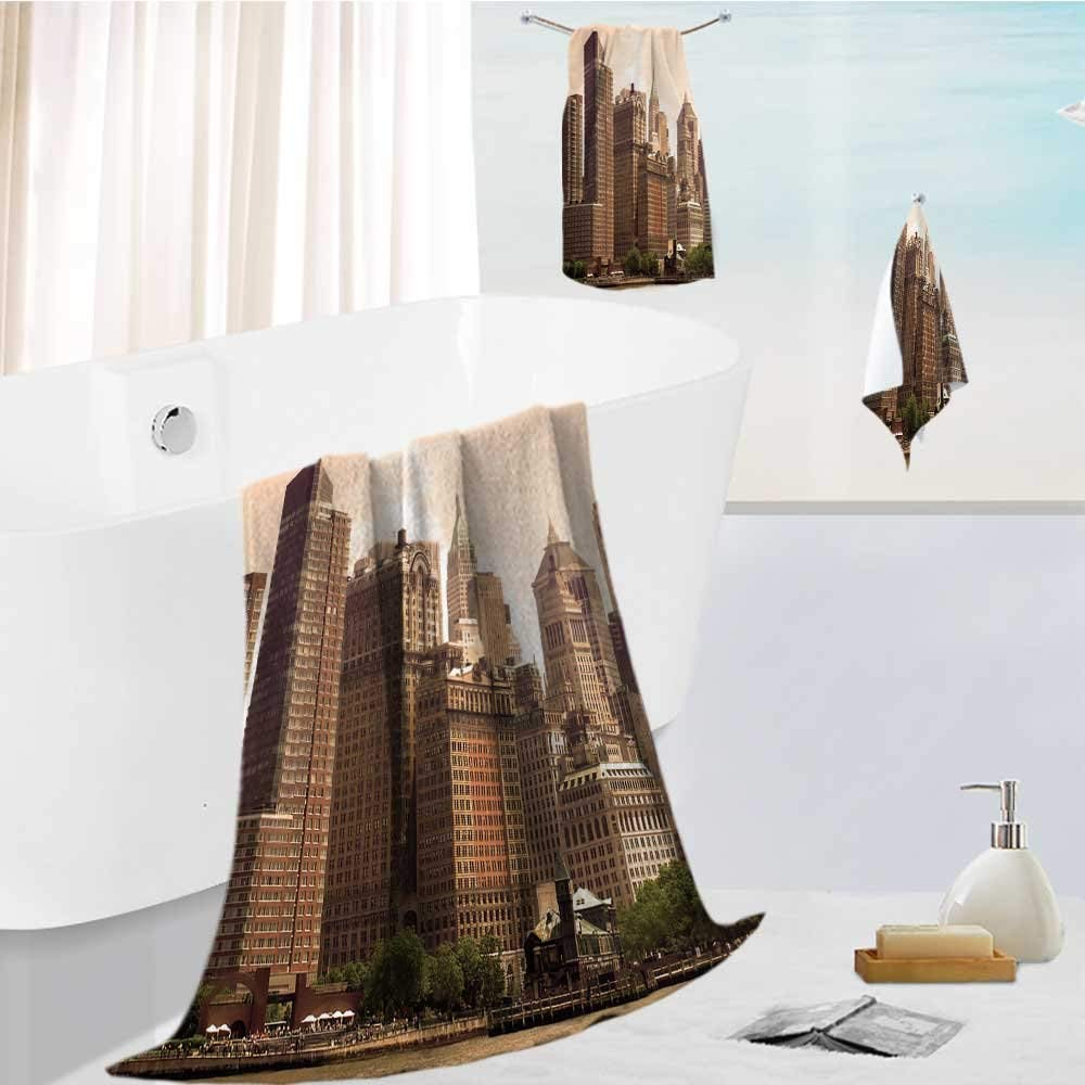 "Auraise Home joker bath towel set cityscape of New York City in sepia Highly Absorbent Machine Washable 19.7""x19.7""-13.8""x27.6""-31.5""x63"""