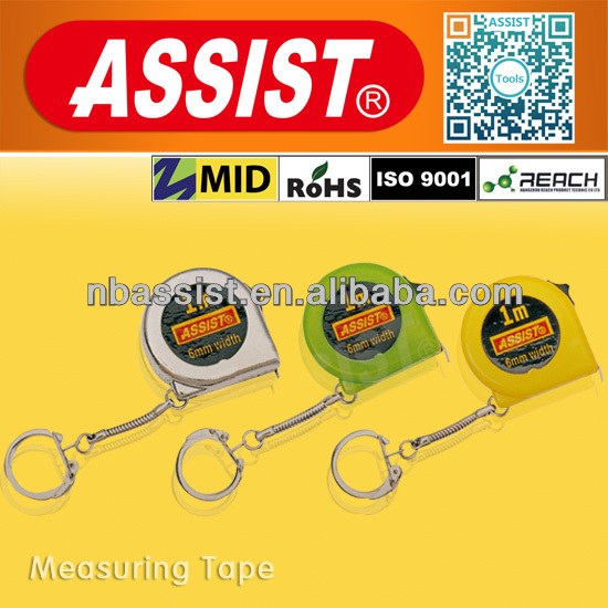1m round retractable mini tape measure with key chain