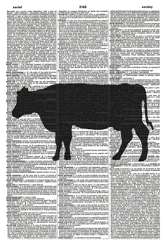 Cow Art Print - Kitchen Art Print - Cow Silhouette - Farmyard Animal Art Print - Animal Silhouette - Vintage Art Print – Cow Illustration - Vintage Dictionary Art Print - Nature Book Print 1191D