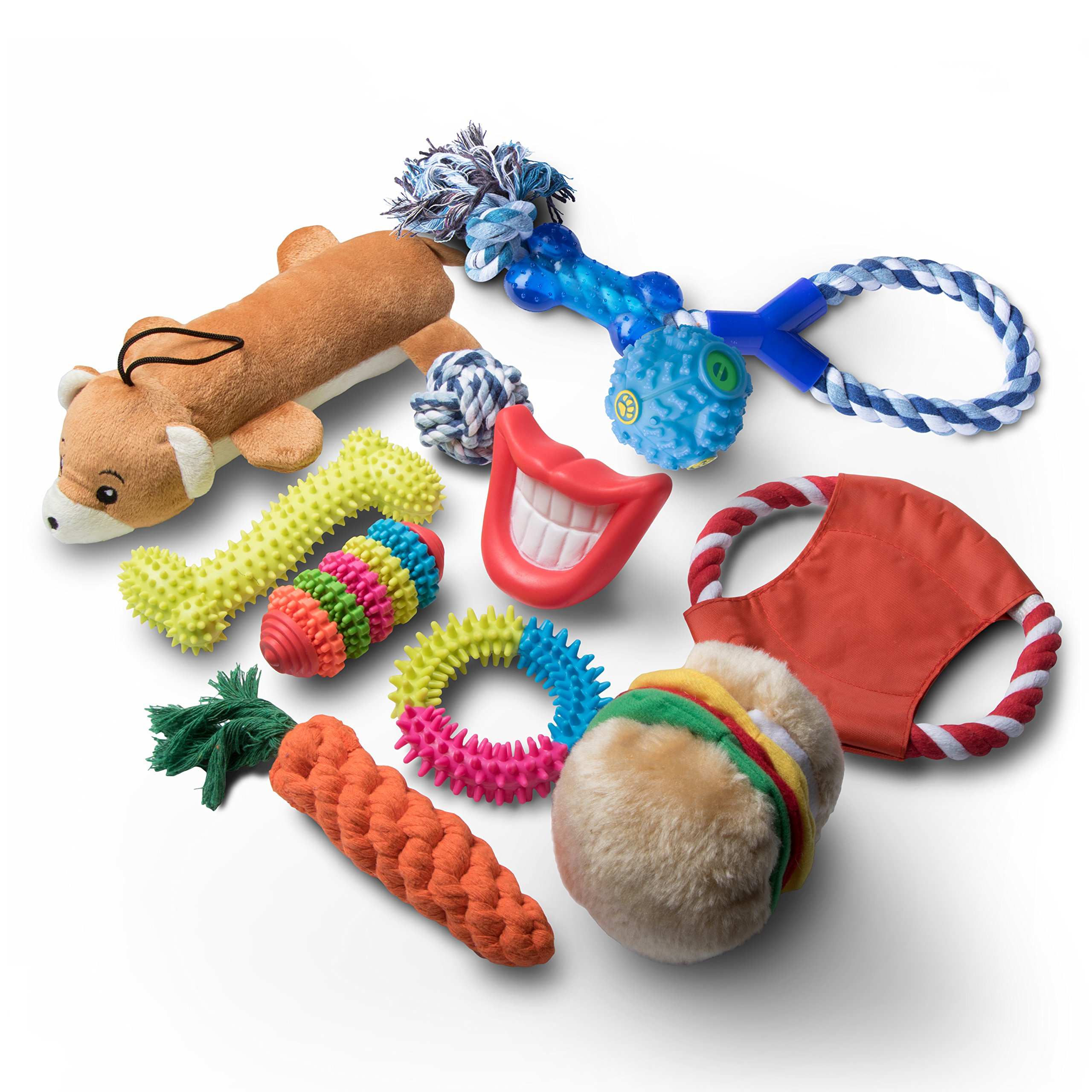 Livin' Well Dog Toys and Puppy Toys - 11 Piece Value Dog Toy Variety Pack with Dog Chew Toys and Teething Toys