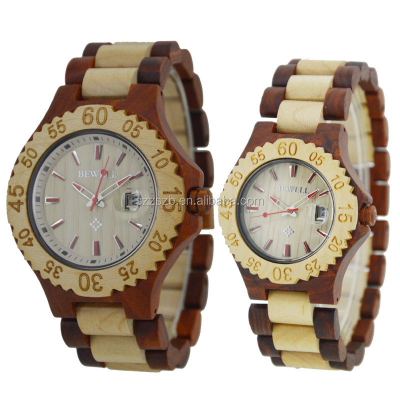 Bewell Natural Wood Quartz Watch Bamboo For Wedding Gifts