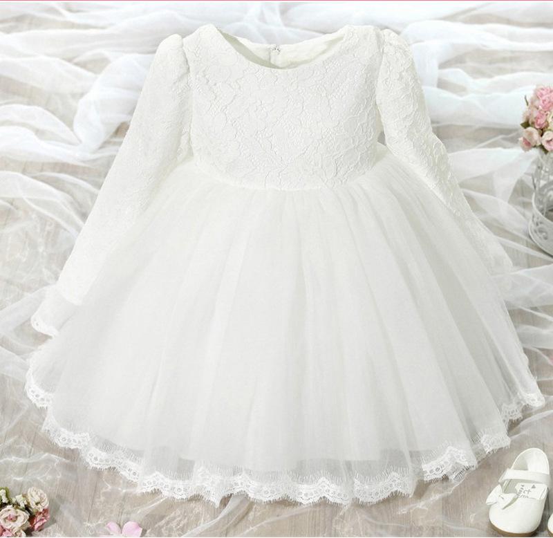Automne Bebe Fille Robe A Manches Longues Rose Blanc Bebe Robe De