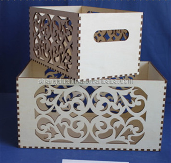Laser Cutting Fancy Decorative Wooden Wine Storage Box
