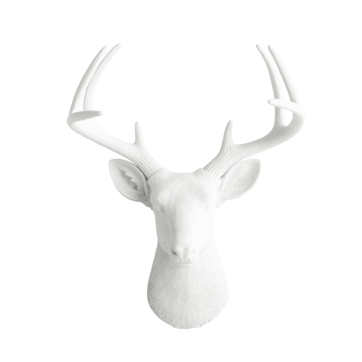 Deer Head by Wall Charmers | White Faux Head Mount Bust Fake Animal Resin Taxidermy Stag Buck Antler Fauxidermy Mounted Replica Decor Art