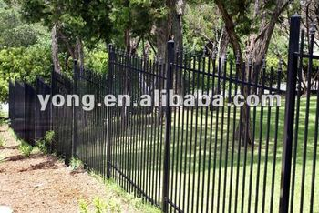 Black Metal Garden Fence With Post