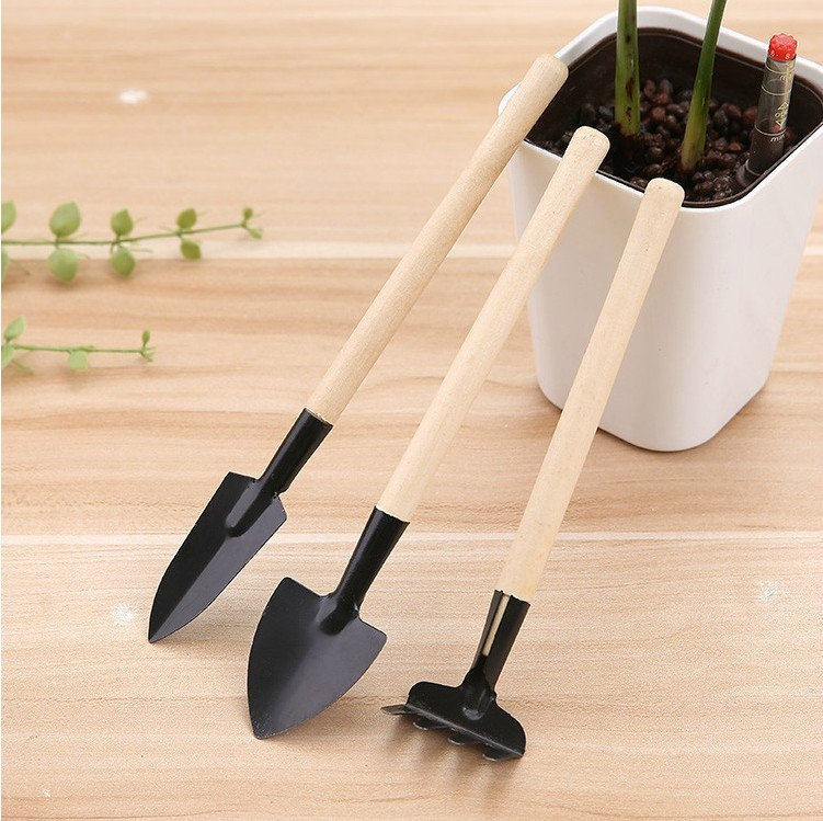 Mini 3pcs wood handle kids garden <strong>tools</strong> with iron heads