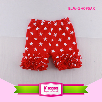 Independence Day Boutique Baby Girls White Star Ruffle Shorts Kids Icing Shorts Toddler Girls Ruffle Cotton Shorts