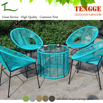 Turquoise color small round rattan acapulco chair and - Acapulco stuhl ...