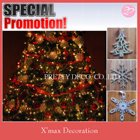 Silver glitter Wood christmas tree and snowflake shaped hanging decorations