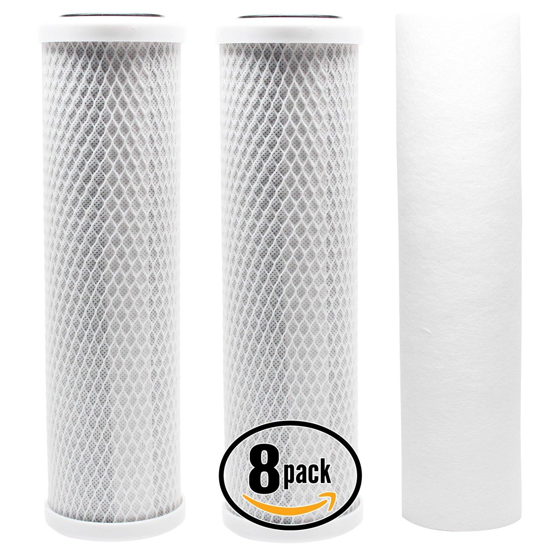 8-Pack Denali Pure Universal 10 inch Carbon Block, Sediment Filter - Compatible with APEC ROES-50, APEC RO-90, Watts WP5-50, APEC ROES-PH75, Watts WP-5, APEC RO-PERM, Watts RO-TFM-5SV, PureValue 5EZ50