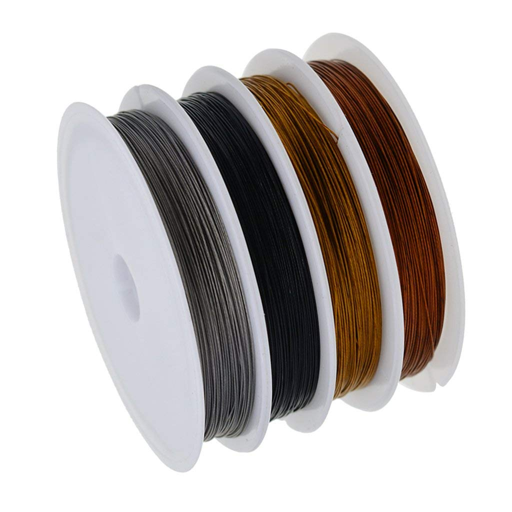 """Fityle 0.38mm / 0.1"""" 4 Rolls Craft Beads Rope Copper Wires Beading Wire Thread for Jewelry Making Craft DIY, black, silver, gold and antique copper"""