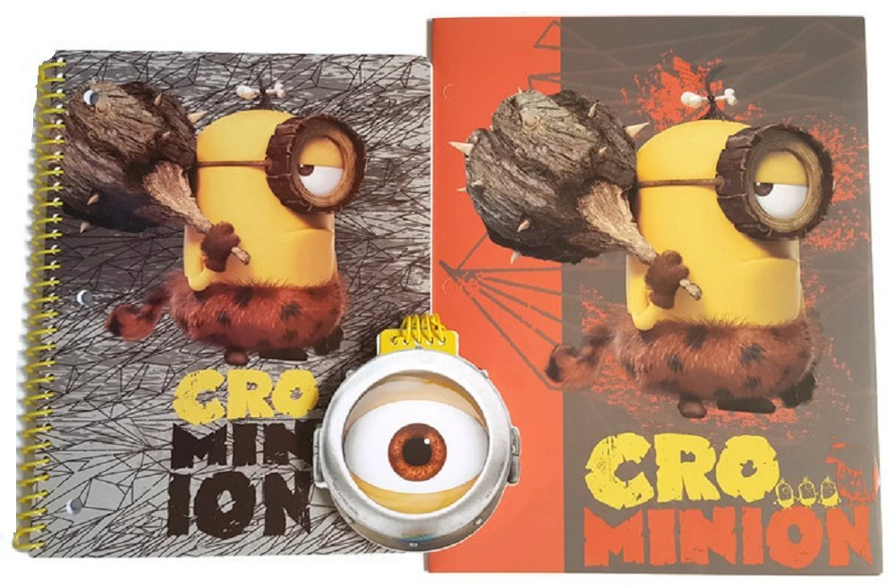 Minions Movie Exclusive Bundle of 3 Items: (1) Crominion School Folder with (1) Matching Wide-Ruled Spiral Notebook and (1) 100 Sheet Eye Pad