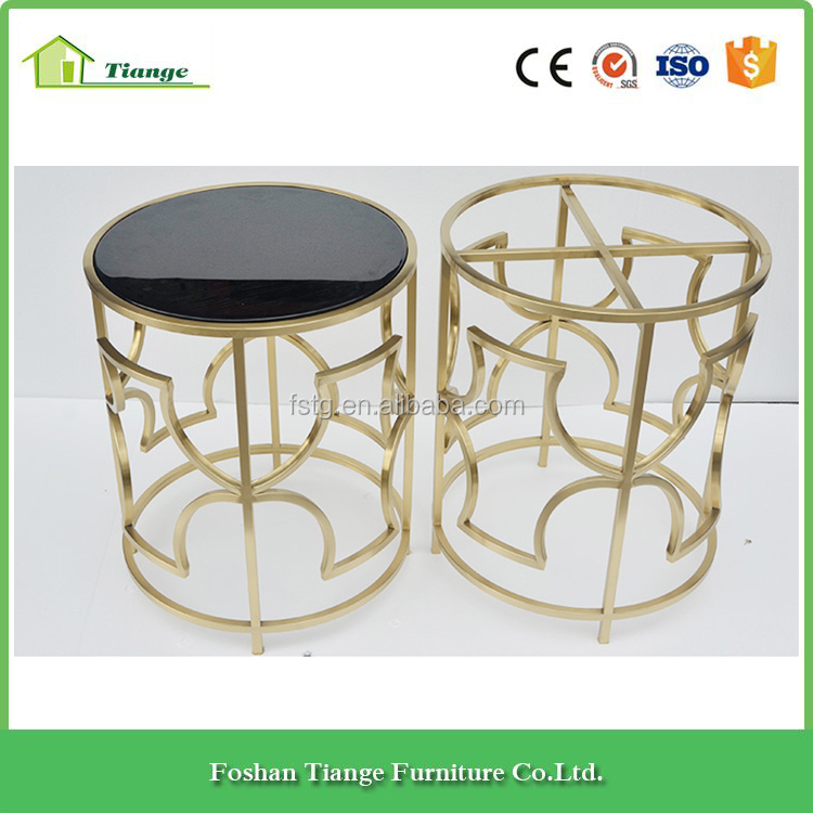 Contemporary Furniture Mirror Titanium Black Paint Glass Brass Side Table