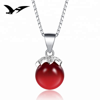 solitaire gemstone jewelry red stone 925 sterling silver pendant