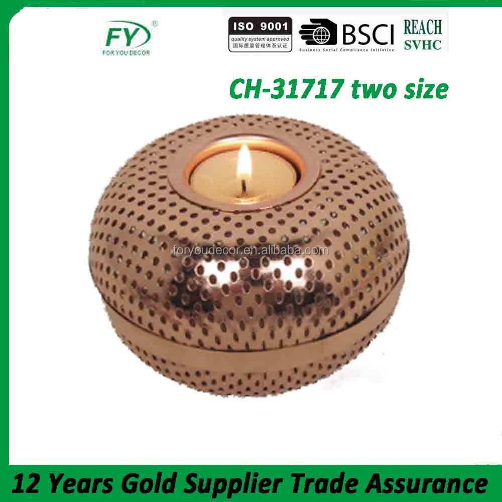 Round table and wedding decoration metal candle holder with copper finish CH-31717 two size