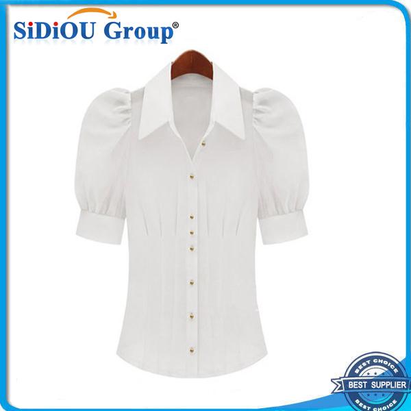 363098c121b272 Witte jurken shirts voor dames zijden jurk overhemd pofmouw buy jpg 600x600 Pof  mouw