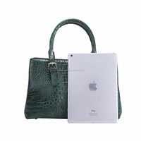 Online shopping factory handmade stylish design crocodile pattern real leather luxury bag ladies handbag