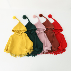 kids winter knitted pattern girls sweater hooded poncho coat