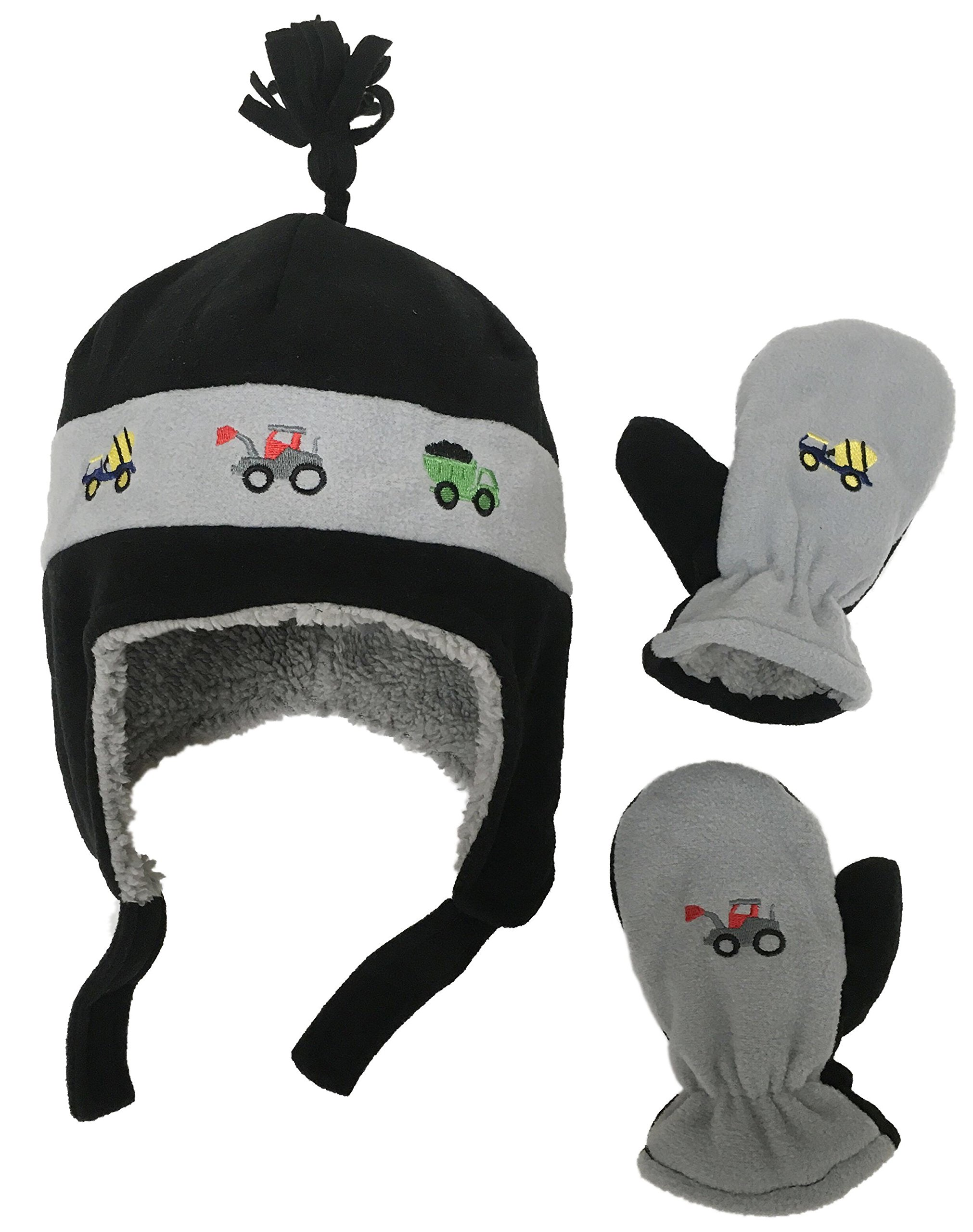 Get Quotations · N Ice Caps Little Boys and Baby Sherpa Lined Fleece Hat  Mitten Embroidery Set fe05b6fa5bf