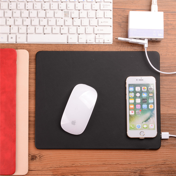 Custom oem leather mouse pad wireless charger mouse pad
