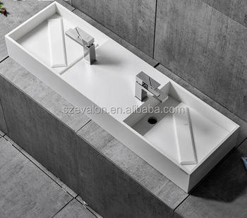 Solid Surface Long Narrow Bathroom Basin,Acrylic Solid Surfac Wall Hung  Basin