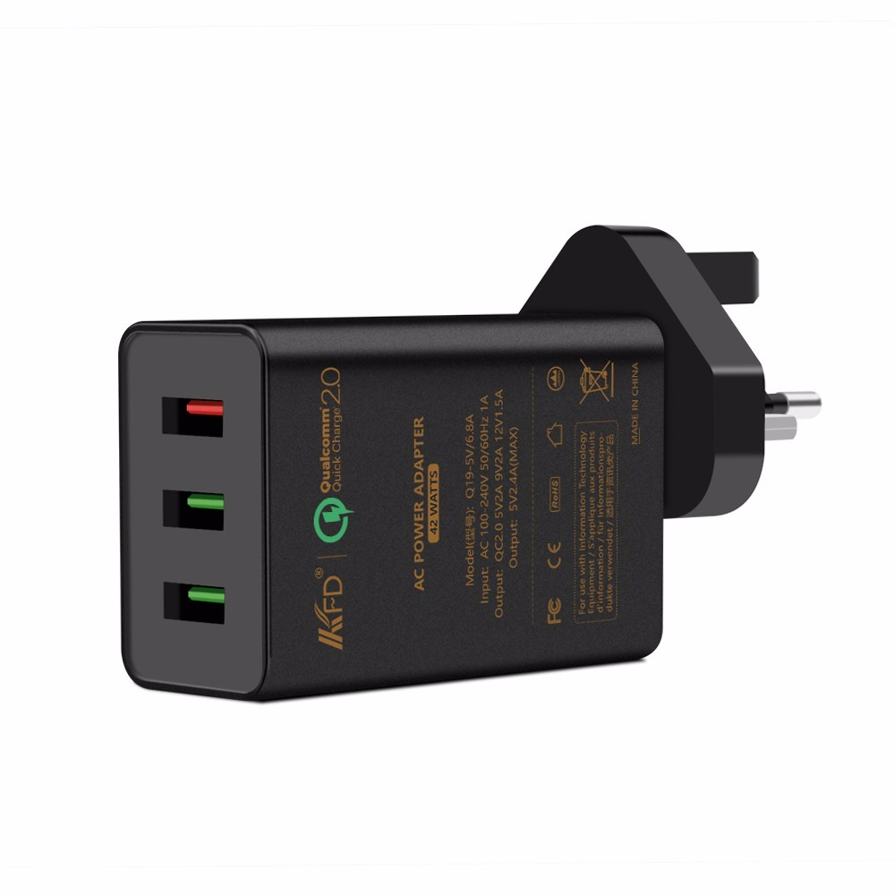 Mobile Devices 42w 3port USB charger Quick Wall charger Qualcomm certificated QC 2.0 For Samsung