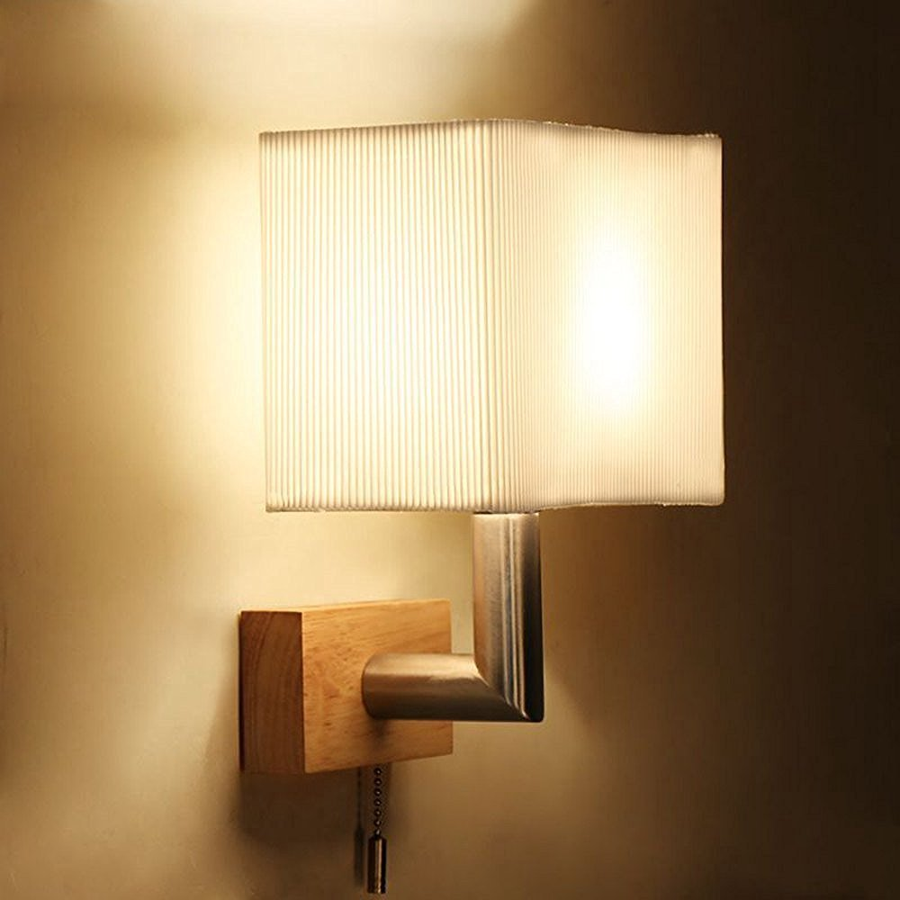 CHXDD Modern Wooden Corridor Wall Light With Switch Square Fabric Lampshade Bedroom Bedsides Wall Sconce Stair Case Balcony Wall Lighting Fixtures