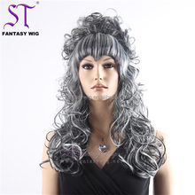 Lady Style China Best Wholesale Curly Mixed Grey Wig
