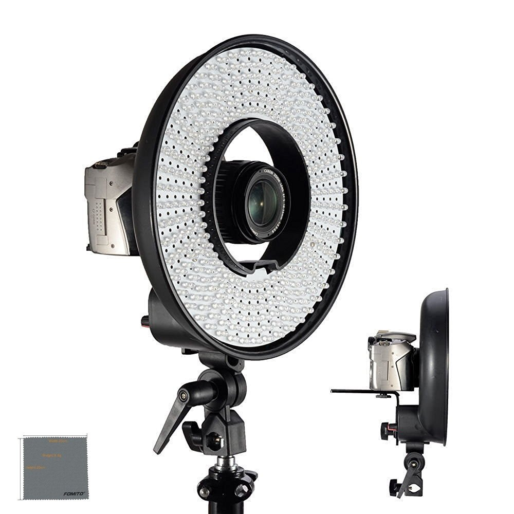 Fomito Falcon Eyes DVR-300DVC LED Ring Light 3000k-7000k Adjustable Color temperature Photography Led Video Ring Light with Camera Bracket