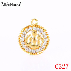 factory price round Religious Islamic Allah Muslim bling Rhinestone Jewelry pendants for necklaces & bracelets