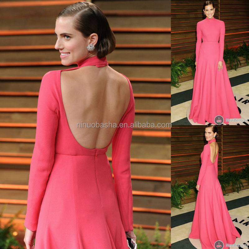 2014 Watermelon Red High Neck Long Sleeve Backless A Line