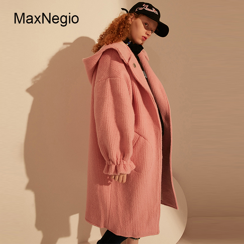 Maxnegio Hood Loose Russian Winter Wool Coat Women Long Overcoat Girls Jacket