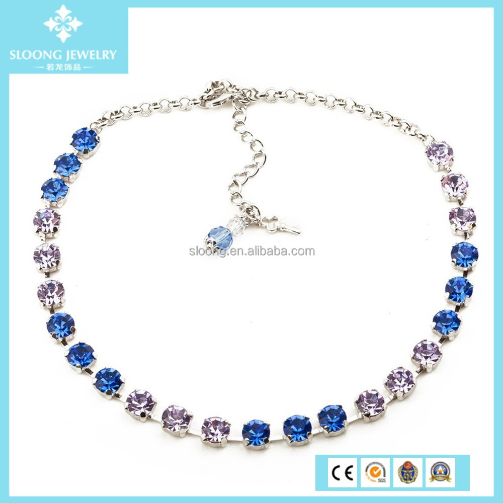 Choker Tennis Anna Wintour Necklace, Sapphire Multicolors Crystal Collet Necklace