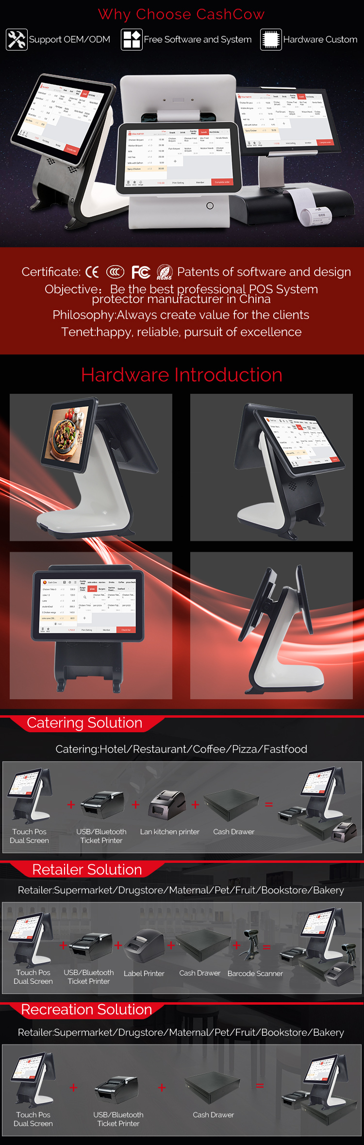 Cashcow android dual screen pos with built in printer