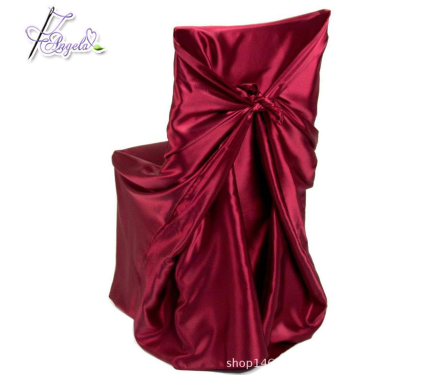 polyester satin bag style pillow case self-tie chocolate coffee chair covers for folding chairs