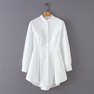 NS4199 European Fashion Women Casual Long White Plain Long Dress Blouses