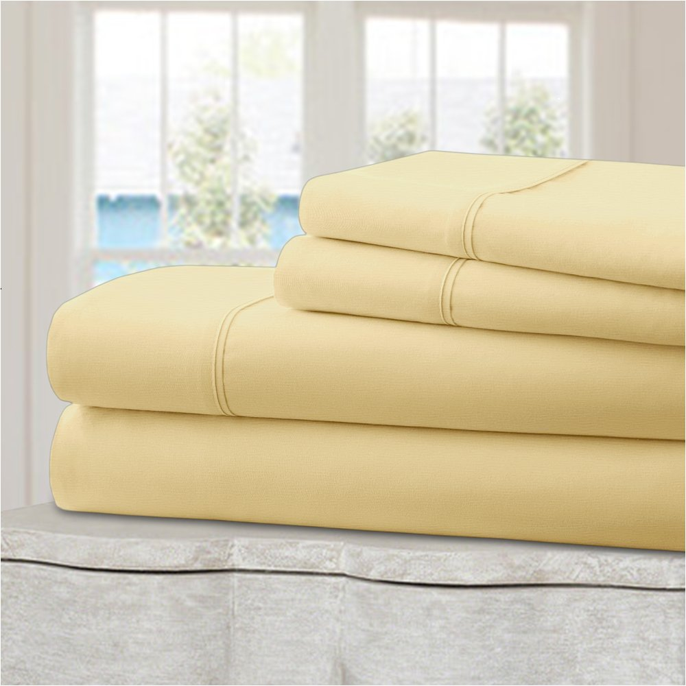 Mellanni 100% Cotton Bed Sheet Set - 300 Thread Count Sateen Weave - Natural, Soft, Deep Pocket Quality Luxury Bedding - 4 Piece (Queen, Ivory)