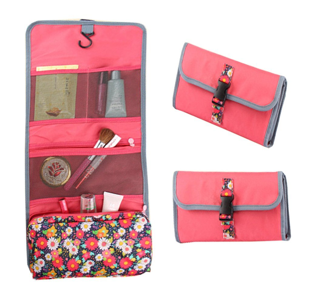 YEECOOL 3 in 1 Small Lightweight Multifunction Floral Portable Hanging  Toiletry Bag Travel Cosmetic Organizer Women 5ad826f4dfc8f