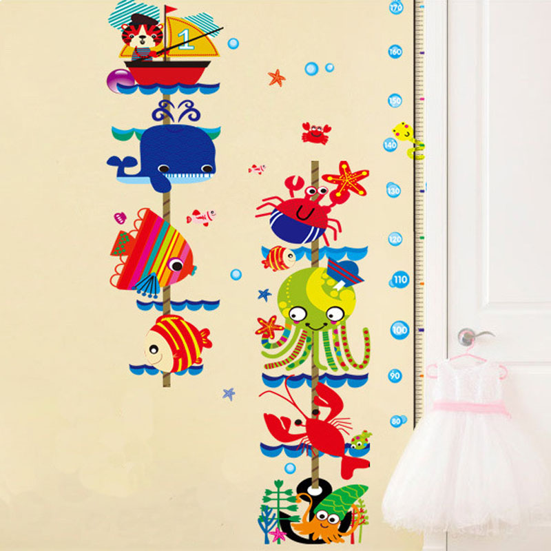 Cute Kawaii Kids Removable Home Decor Aquatic creatures Plastic Art Height Wall Stickers Decal Wallpaper For living Room Bedroom