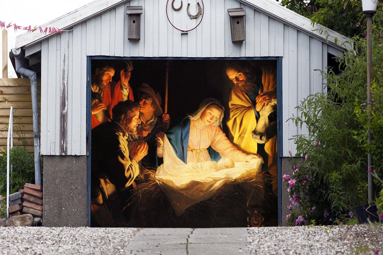 Get quotations · outdoor christmas jesus murals nativity scene garage door banner single garage door covers billboard house garage