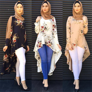 2019 hot sale new design girl women printed crepe Abaya Arab Soft crepe Abaya Kimono Cardigan religious lady Abaya Kimono