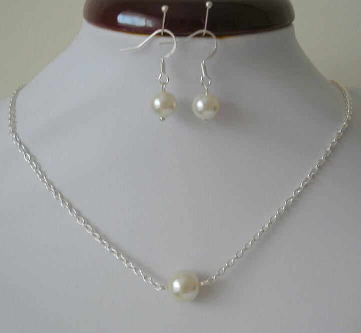 Single Floating Pearl Jewelry Sets Necklace And Stud Earrings Weddings Bridal Bridesmaid Drop Set Silver