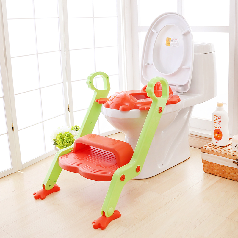 Safe & Comfortable Design - <strong>Orange</strong> & Green Toddler Mate Step UP Potty Seat