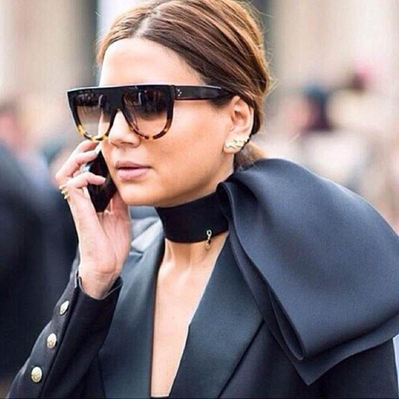 057a798f19e3 WINLA Sunglasses Fashion Women Flat Top Oversize Shield Shape Glasses Brand  Design Vintage Sun glasses UV400